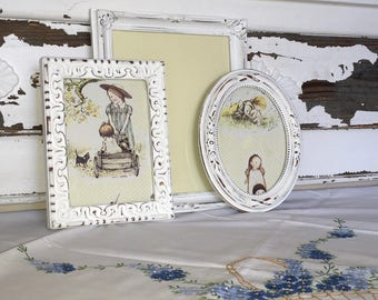 Shabby Chic Set of 3 Picture Frames - Ornate Wall Frames- French Country Decor - Distressed White