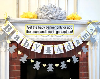 Teddy Bear Baby Shower Decorations   Teddy Bear Baby Name Banner   Gray And  Yellow Nursery
