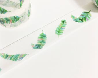 Gorgeous Watercolor Green Blue Red Purple Tropical Feathers Tropical Bird Feather Washi Tape 5.5 yards 5 meters 20mm