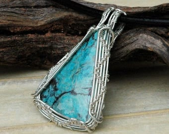 Turquoise Pendant, 925 Sterling Silver and Turquoise Necklace, Wire Weave Pattern, Wire Wrapped Nevada Turquoise Pendant