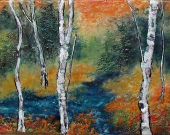 Original Landscape Painting - Encaustic Aspen Tree Painting - Encaustic Art - Textured Beeswax Painting - KLynnsArt