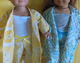 "Vintage Sheet Upcycled Robe & Pajama Set for 18"" dolls. Doll Robe - Doll Pajama - Vintage Inspired Pajama set for Dolls - Sleepwear"