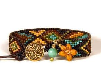 Bead Loom Bracelet Leather Wrap Bracelet Brown Turquoise Gold Tribal Seed Bead Bracelet Boho Bracelet Bohemian Jewelry
