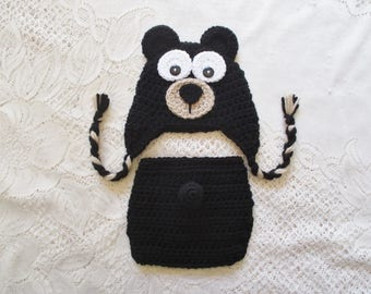 READY TO SHIP - 0 to 3 Month Size - Black Baby Bear Hat and Diaper Cover Photo Prop Set