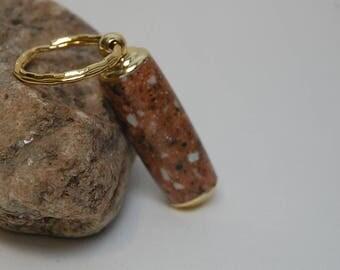 Handmade Pill Holder Key Chain- Brown Corian Acrylic