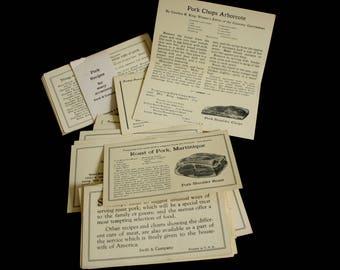 Antique Recipe Cards, Swift & Company Pork Recipes; Vintage Hallmark Bean Recipe File; for 3 x 5 Recipe Card Box