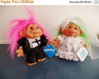30% OFF SALE Norfin Troll Dolls Little Bride Groom Set Wedding Marriage Couple