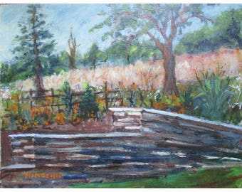The Garden Wall and Beyond in Bamboo Brook Park, NJ - an original 11 by 14 inch oil painting