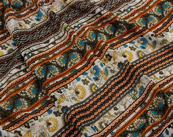 "59""width yellow sunflower stripe orange yellow black beige bohemia chiffon  fabric by yard  dress"