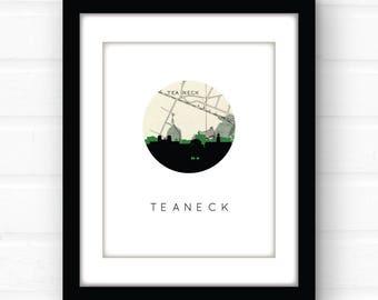 Teaneck, New Jersey  map art | New Jersey wall art | New Jersey home decor | New Jersey art | city skyline print | city skyline art print