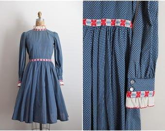 1960s Polka Dot Dress / Red White and Blue Dress / 60s Dress/ Full skirt Dress / Size S/M