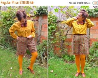 50%DISCOUNT 80s kaki green rust mustard plaid cuffed pleated highwaisted bermuda shorts M