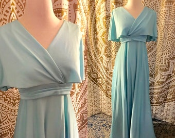 VTG 70s Blue Disco Grecian Cape Full Skirt Maxi Party Dress XS