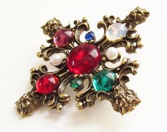 Lion Head Glass Cabochon Iron Cross Brooch Victorian Revival