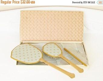 ON SALE Vintage Blue Silk Gold Dresser Set Brush Hand Mirror Comb in original box New Old Stock