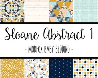 Sloane Abstract 1 Baby Bedding - Floral Baby Bedding - Floral Crib Sheet - Floral Baby Blanket - Floral Changing Pad - Floral Crib Bedding