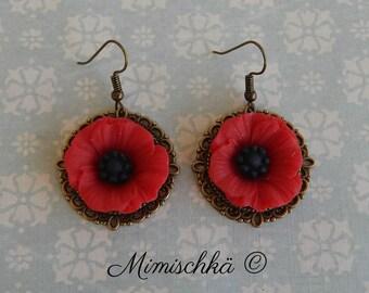 earrings poppy red