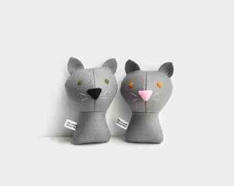 2 custom cats. 2 small pets. Handmade Personalized plush doll. Stuffed toy. Custom doll. Customize.