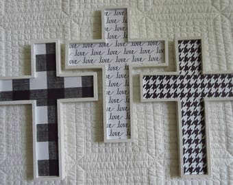 Wooden Cross Wood Cross Christian Home Decor Nursery Decor Black and White Decor