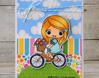 Enjoy the Ride Copic Chibi Girl Bike Card