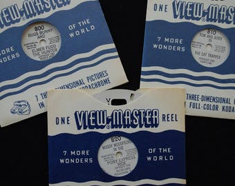 Vintage 1950's Sawyer's View Master Reels - Lot of 3 - Cartoons - Woody Woodpecker - Bugs Bunny - Tom and Jerry - Children's Entertainment