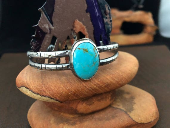 Handmade Jewelry, Southwestern Jewelry, Hammered Sterling Silver Blue Kingman Turquoise Cuff/Bangle, One of a Kind