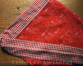 Women's skirt apron red floral check picnic handmade one size