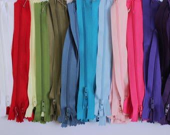 """7"""" zips, 7 inch zips, bright zips, rainbow zips, red zips, turquoise zips, lilac zips, pink zips, blue zips, UK haberdashery, sewing"""