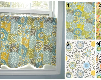 Cafe Curtains Window Treatment  Waverly Buttons & Blooms Pom Pom Curtains Half Window Four Pattern Choices!!!