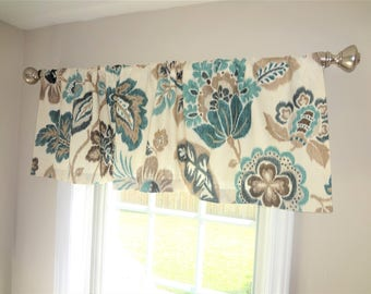 Curtain Valance Topper Window Valance 52x15 Teal Turquoise Blue Beige Ivory Floral Valance