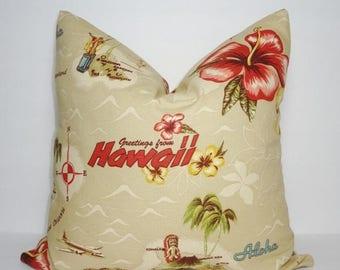 SPRING FORWARD SALE Vacation Hawaii Aloha Pillow Cover Island Maui Lanai Honolulu Pillow Cover Size 18x18