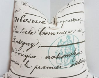 SPRING FORWARD SALE French Script Pillow Penmanship Blue Stamp Decorative Pillow Cover Throw Pillow 18x18