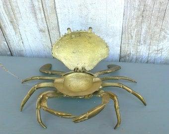 Brass Crab Hidden Ring Holder Beach Coastal Nautical Home Decor Vintage Trinket Containter