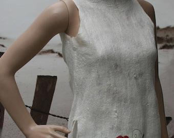"Tunic asymmetrical felt and silk, white and pink ""Dream fairy..."""