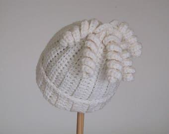 Cream wool baby hat - winter white - 0 to 3 months - corkscrews - tassles - beanie with turned up brim - wool and alpaca