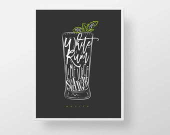 Cocktail Bar Print - Mojito bartender print wall decor art modern kitchen retro liquor cocktail rum mint lime mixed drink quote sign poster