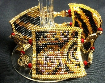 CLEARANCE SALE Animal Print Bracelet -Beadwoven in Gold, Black, and Red with Crystals, Filigree Connecters,and Bow Clasps