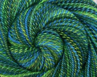 Worsted Weight Handspun Yarn - MARINE LIFE - Handpainted Shetland wool, 208 yards, gift for knitter, green blue handspun yarn, weft yarn
