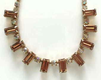Weiss Vintage Amber Emerald Cut Rhinestone Choker Necklace