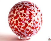 Hand Blown Glass Float - Opaline with Cherry Red Dots