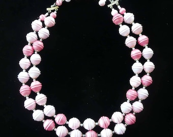Pink Satin with Pearls Necklace Double Strand 1970s Vintage Japan