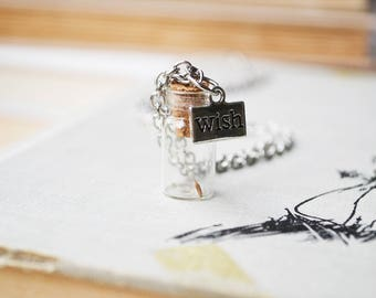 Dandelion Wish Bottle Terrarium Necklace