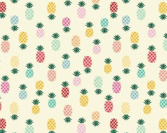 Pineapples cotton fabric on white background by Adornr it fabric 656A