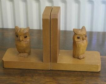 vintage carved wood owl book ends