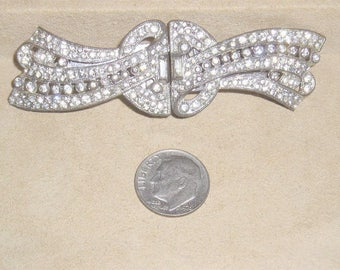 Vintage Art Deco Coro Duette Dress Clips Brooch With Clear Rhinestones 1930's Signed Jewelry 11119