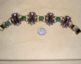Vintage Large Purple And Green Rhinestone Book Chain Bracelet With Faux Pearl Accents Early 1950's Jewelry 148
