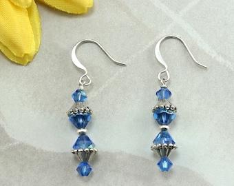 Capri Blue Swarovski Crystal Dangle Earrings