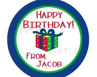 24 STICKERS, Birthday Stickers, Personalized Birthday Stickers, Birthday Favors, Kids Stickers, Party Favor Stickers, Kids Gift Tags (146)