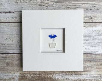 Original flower pot Pebble Art 5 by 5 Mini unframed Pebble Picture by Sharon Nowlan, matted sea glass and pebble art, flower art