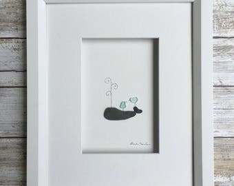 Pebble Art whale 8 by 10 PebbleArt by Sharon Nowlan choice of framed or unframed